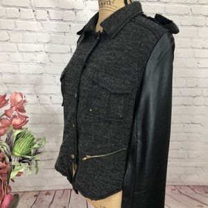 THML Faux Leather and Tweed Moto Jacket